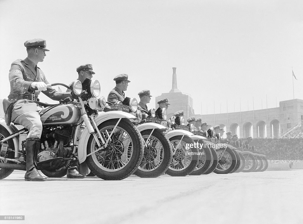 The motorcyle squad lines up during the Los Angeles Police Department's semiannual inspection and review in the Coliseum in Exposition Park