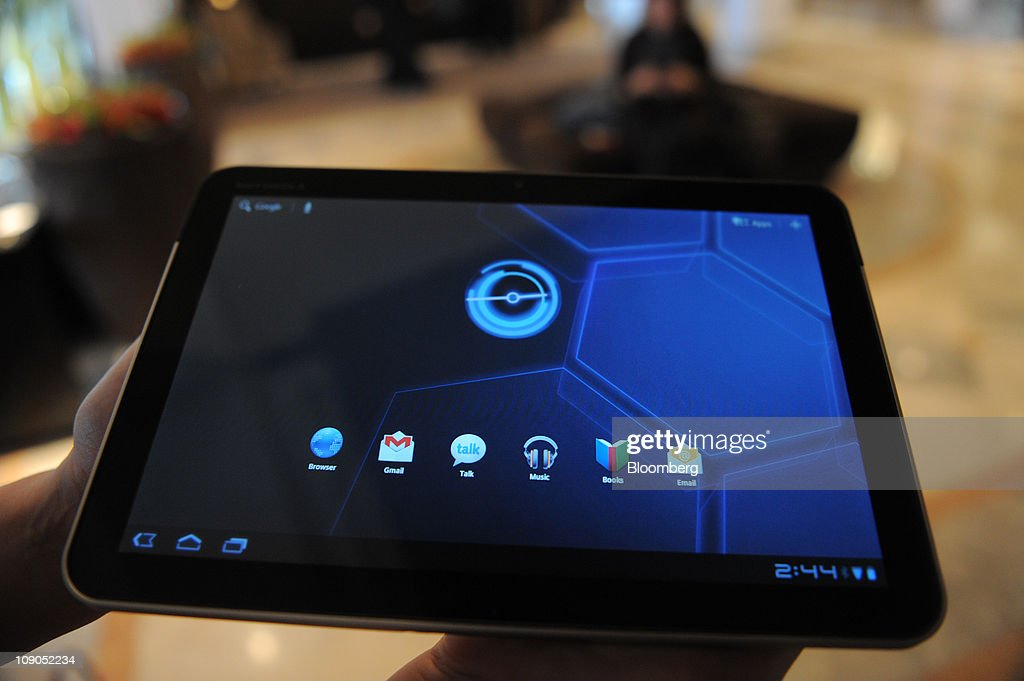 The Motorola Inc. XOOM tablet is displayed for a photograph at the Mobile World Congress in Barcelona, Spain, on Sunday, Feb. 13, 2011. Smartphone sales gained 72 percent last year, helping propel the worldwide mobile-phone market to 1.6 billion units, researcher Gartner Inc. said. Photographer: Denis Doyle/Bloomberg via Getty Images