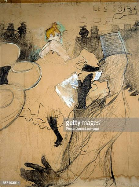 The Moulin Rouge La Goulue and Valentin le Desosse Charcoal sketch heightened with colors Drawing by Henri de Toulouse Lautrec 1891 154 x 118m...