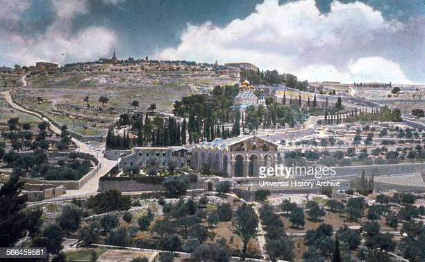 The Mount of olives in Jerusalem with the Russian orthodox Church and Church of Gethsemane circa 1920