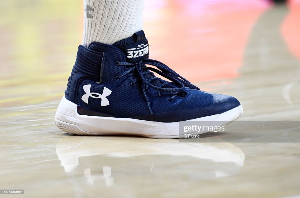 The Mount St. Mary's Mountaineers wear Under Armour shoes during the game against the Maryland Terrapins at Xfinity Center on December 6, 2017 in College Park, Maryland.