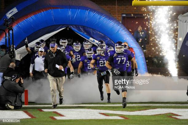 The Mount Union tean enters the field before the Division III Men's Football Championship held at Salem Stadium in Salem VA Mount Union defeated St...