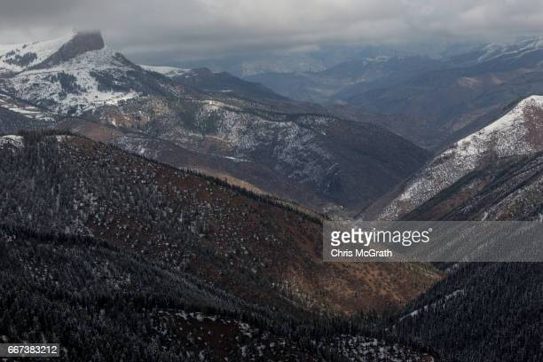 The mountain landscape is seen from a road on April 11 2017 outside Sivas Turkey Campaigning by both the 'Evet' and 'Hayir' camps has intensified...