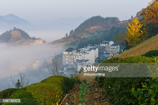 The mountain village morning's scenery
