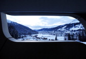 The mountains and the town of Davos are seen from a guest's bedroom balcony at the InterContinental hotel Davos operated by InterContinental Hotels...