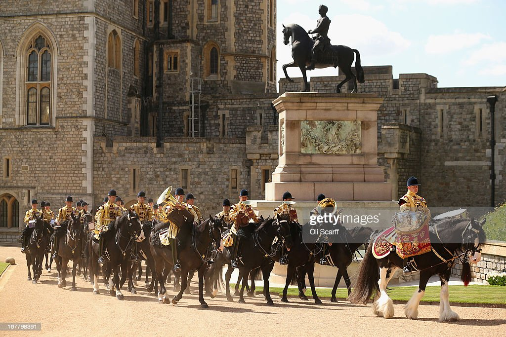 The mounted band of the Household Cavalry rides through the Quadrangle of Windsor Castle before the arrival of Queen Elizabeth II and The President of the United Arab Emirates, His Highness Sheikh Khalifa bin Zayed Al Nahyan on April 30, 2013 in Windsor, England. The President of the United Arab Emirates is paying a two-day State Visit to the United Kingdom, staying in Windsor Castle as the guest of Her Majesty The Queen from April 30, 2013 to May 1, 2013. Sheikh Khalifa will meet the British Prime Minister David Cameron tomorrow at his Downing Street residence.