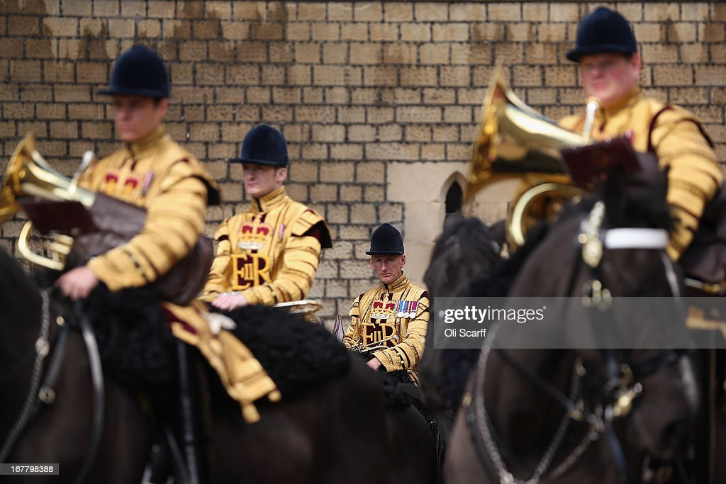 The mounted band of the Household Cavalry waits in the Quadrangle of Windsor Castle before the arrival of Queen Elizabeth II and The President of the United Arab Emirates, His Highness Sheikh Khalifa bin Zayed Al Nahyan on April 30, 2013 in Windsor, England. The President of the United Arab Emirates is paying a two-day State Visit to the United Kingdom, staying in Windsor Castle as the guest of Her Majesty The Queen from April 30, 2013 to May 1, 2013. Sheikh Khalifa will meet the British Prime Minister David Cameron tomorrow at his Downing Street residence.