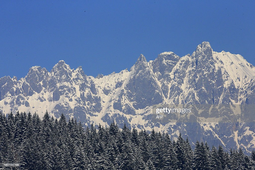 The moutains of the Kitzbuehel Alps are pictured on a sunny winter day on January 25, 2013 in Austria