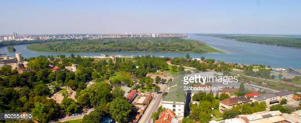 The mouth of the river Danube and Sava near Belgrade arial view