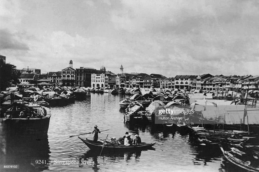 The mouth of the Singapore River on Singapore circa 1925