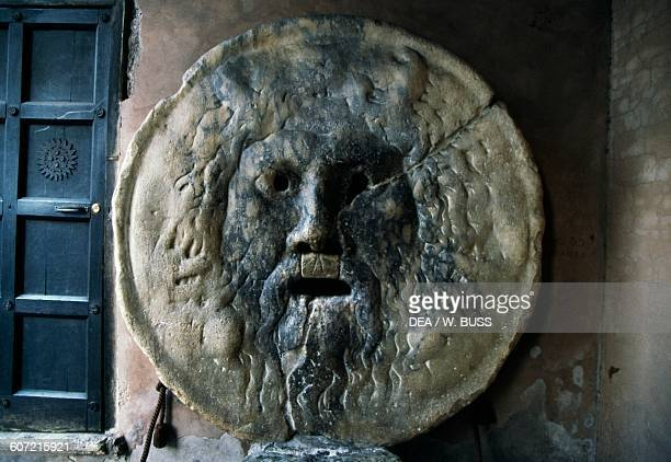 The Mouth of Truth located in the portico of the Basilica of St Mary in Cosmedin Rome Lazio Italy