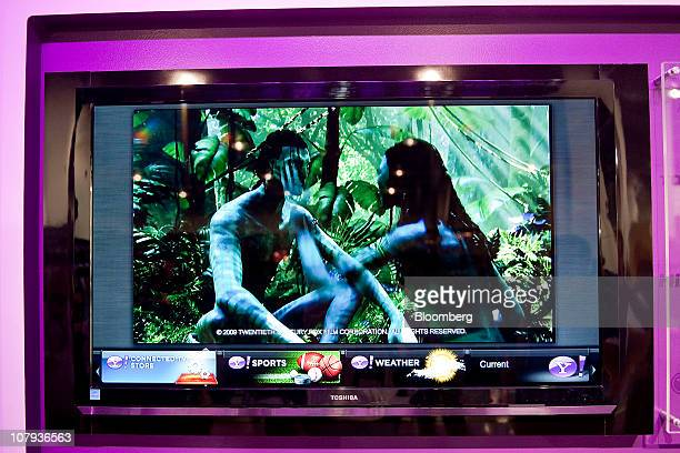 The movie 'Avatar' is displayed on a Toshiba Corp device using Yahoo Inc's Connected TV application during the 2011 International Consumer...