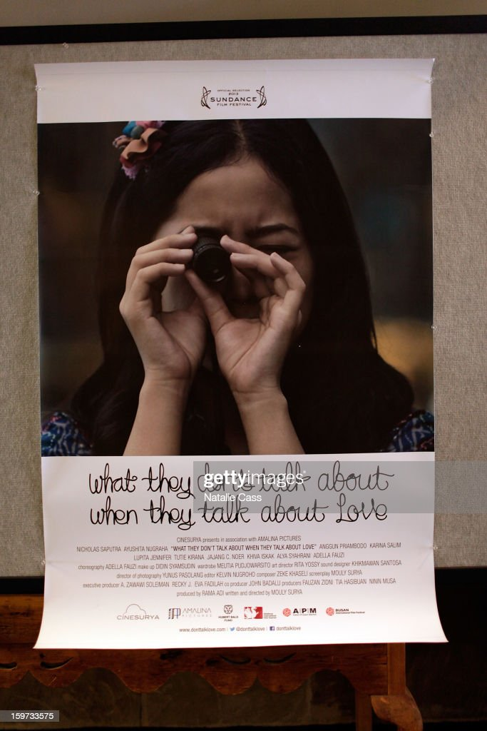 The movie poster is displayed at the 'What They Talk About When They Talk About Love' premiere at Prospector Square during the 2013 Sundance Film Festival on January 19, 2013 in Park City, Utah.