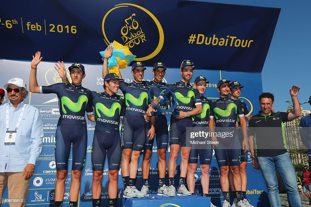 The Movistar Team celebrate winning the overall team award during the Business Bay Stage Four of the Tour of Dubai on February 6, 2016 in Dubai, United Arab Emirates.