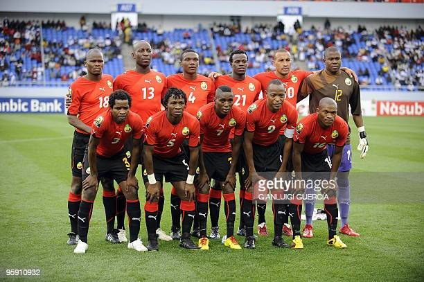 The Mozambican national football team lineup pose for a team photo during their group stage match against Nigeria at the African Cup of Nations...