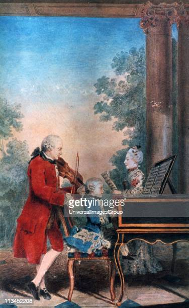 The Mozart family in Paris in 1763 Leopold Mozart is the violinist the singer is his daughter Maria Anna and his son Wolfgang Amadeus is at the...