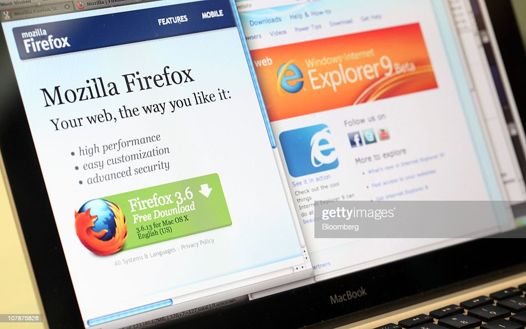 The Mozilla Corp.'s Firefox web browser, left, is displayed next to the Microsoft Corp. Windows Internet Explorer logo on a computer monitor in London, U.K. on Wednesday, Jan. 5, 2011. Mozilla Corp.'s Firefox topped Microsoft Corp's Internet Explorer in Europe for the first time last month to become the region's most-used web browser. Photographer: Chris Ratcliffe/Bloomberg via Getty Images