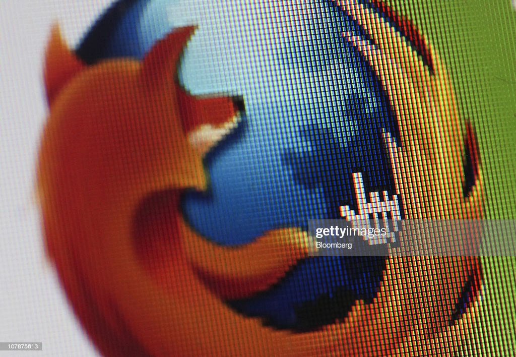 The Mozilla Corp.'s Firefox web browser logo is displayed on a computer monitor in London, U.K. on Wednesday, Jan. 5, 2011. Mozilla Corp.'s Firefox topped Microsoft Corp's Internet Explorer in Europe for the first time last month to become the region's most-used web browser. Photographer: Chris Ratcliffe/Bloomberg via Getty Images
