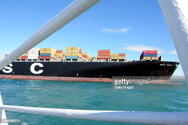The MSC Sola docks into Port Ngqura on July 8 2012 in Port Elizabeth South Africa The Mediterranean shipping company vessel which is one of the...