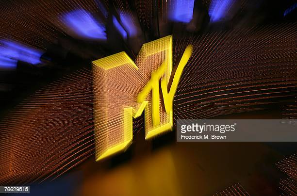 The MTV logo is seen on stage during the 2007 MTV Video Music Awards held at The Palms Hotel and Casino on September 9 2007 in Las Vegas Nevada