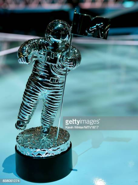 The MTV Moon Person Award is displayed onstage during the 2017 MTV Video Music Awards rehearsals at The Forum on August 23 2017 in Inglewood...