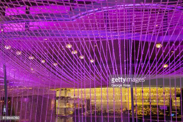 The multifloor chandelier at the Cosmopolitan Hotel Casino is viewed on July 14 2017 in Las Vegas Nevada Despite record temperatures tens of...