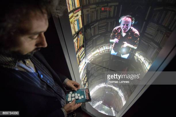 The multimediainstallation 'LIR' with the hologram of the lector Adolfo Bioycasares pictured in the French host country exhibition of the 2017...