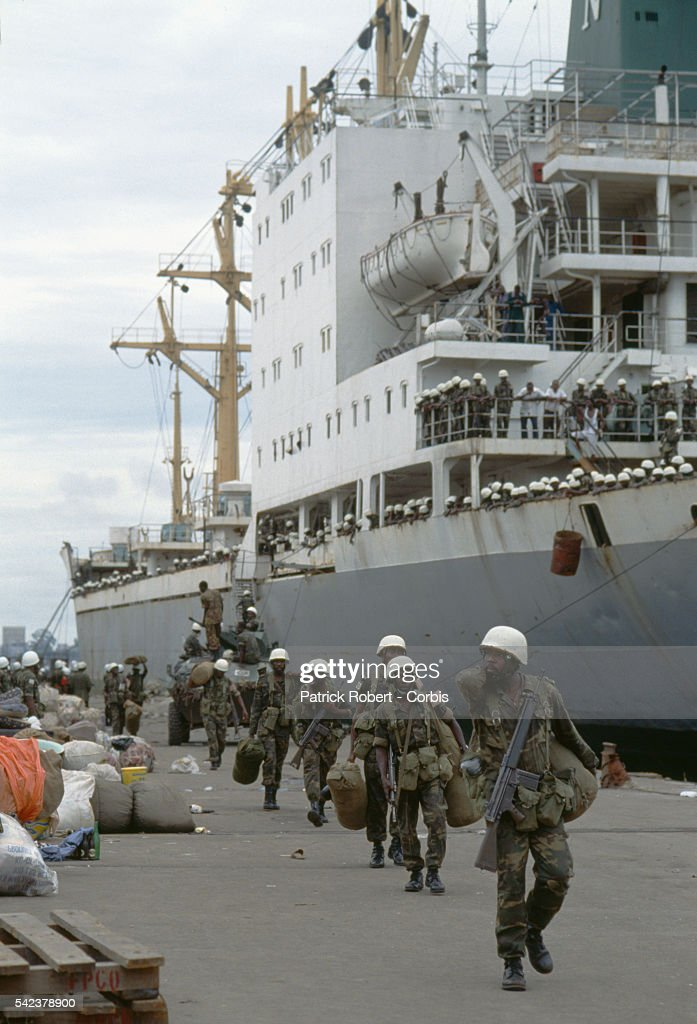 The multinational West African forces of ECOMOG arrive in Freetown Sierre Leone on their way to their peacekeeping mission in Liberia Responding to...