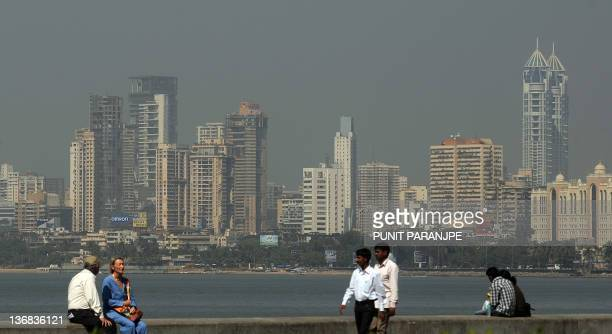 The Mumbai city skyline is seen from a seaside promenade in Mumbai on January 12 2012 The construction of enormous skyscrapers has an 'unhealthy'...