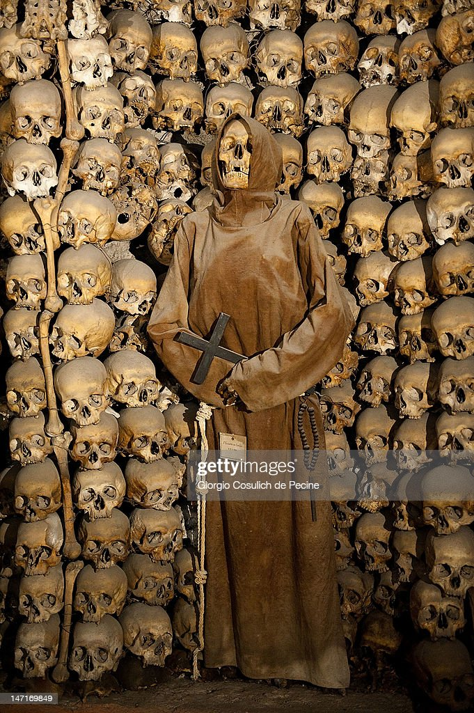 The mummy of a Capuchin monk is seen in the crypt during the opening of the museum in the Capuchin convent of the Immaculate Conception of the Blessed Virgin Mary on June 26, 2012 in Rome, Italy. The monastery, which was first used by Capuchin monks and nuns in 1626, has become a destination for tourists from all over the world who visit an ossuary in the crypt which contains the skeletal remains of 3,700 monks.