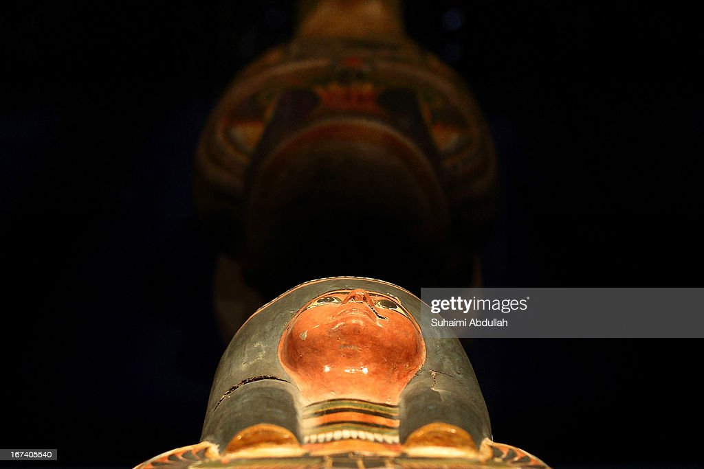 The mummy of Nesperennub is displayed during a media preview of the Mummy: Secrets of the Tomb exhibition at ArtScience Museum on April 25, 2013 in Singapore. The exhibition includes more than 100 artifacts and six mummies from the heralded ancient Egyptian collection of the British Museum. Among the mummies displayed is the Egyptian temple priest, Nesperennub who lived 3,000 years ago. The exhibition will run from April 27 till November 4, 2013.