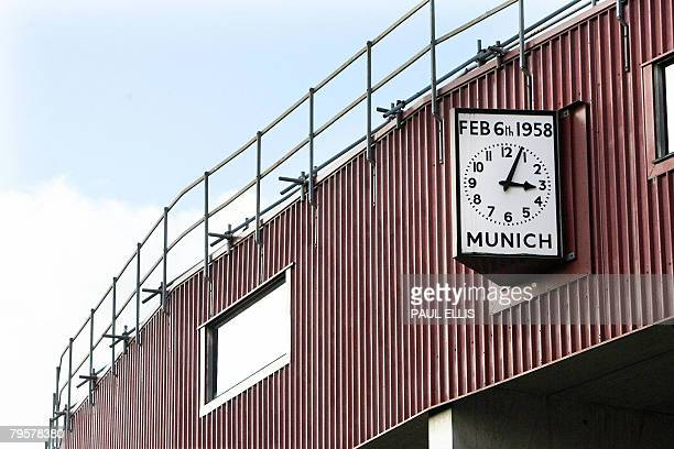 The Munich clock stopped at 304pm is pictured at Old Trafford football ground in Manchester northwest England on February 6 2008 A memorial service...