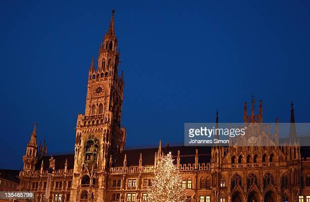 The Munich Marienplatz Christmas market stands illuminated on December 9 2011 in Munich Germany The Marienplatz Christmas market claims to be one of...