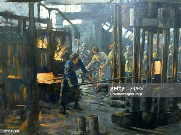 The Munitions Girls by Stanhope Forbes oil on canvas 1918 The painting depicts woman workers at a steel works
