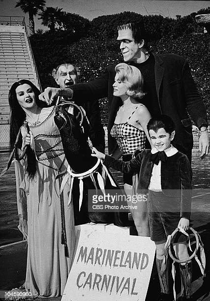 The Munster family stand with a sea lion and a sign for the 'Marineland Carnival' in a still from the TV series 'The Munsters' circa 1965 Actors...