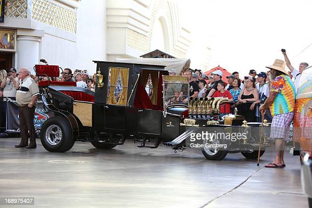 The Munster Koach from the television series 'The Munsters' is on display at the opening ceremony of Las Vegas Car Stars at the Fremont Street...
