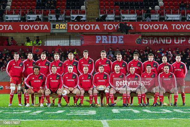 The Munster team before the tour match between Munster and the Australian Wallabies at Thomond Park on November 16 2010 in Limerick Ireland