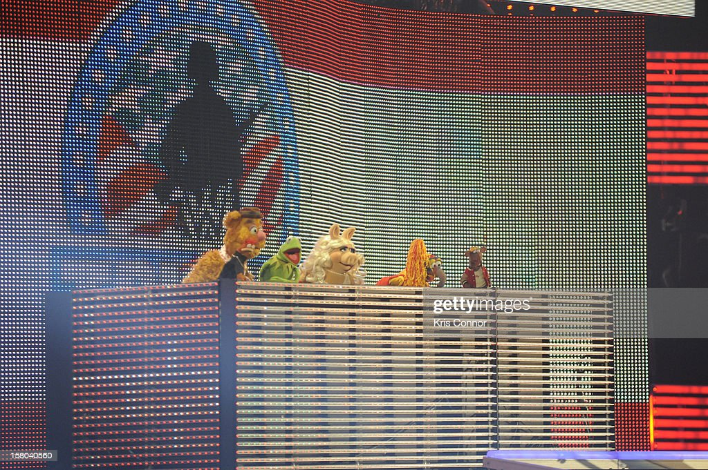 The Muppets perform during the 10th anniversary of WWE Tribute to the Troops at Norfolk Scope Arena on December 9, 2012 in Norfolk, Virginia.