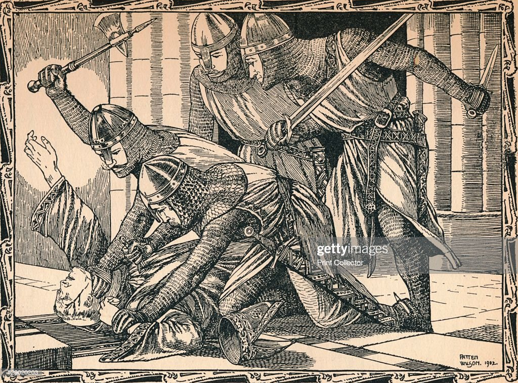 The Murder of Thomas A Becket, 1902. Archbishop of Canterbury from 1162, Becket clashed almost incessantly with King Henry II over the question of the independence of the Church from the authority of the state. He was murdered by four knights in Canterbury Cathedral on 29 December 1170. After a work by Patten Wilson (1869-1934). From A Child's History of England by Charles Dickens [J. M. Dent & Co., New York, 1902]