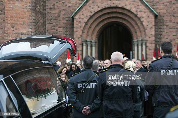 The murdered Danish police officer Jesper Jul receives a state funeral at Roskilde Cathedral on December 16 2016 in Roskilde Denmark The Prime...