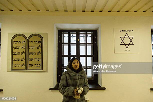The museum guide shows a synagogue room in the museum of the Prison Castle in Tobolsk Russia on January 21 2016 Before the revolution of 1917 there...