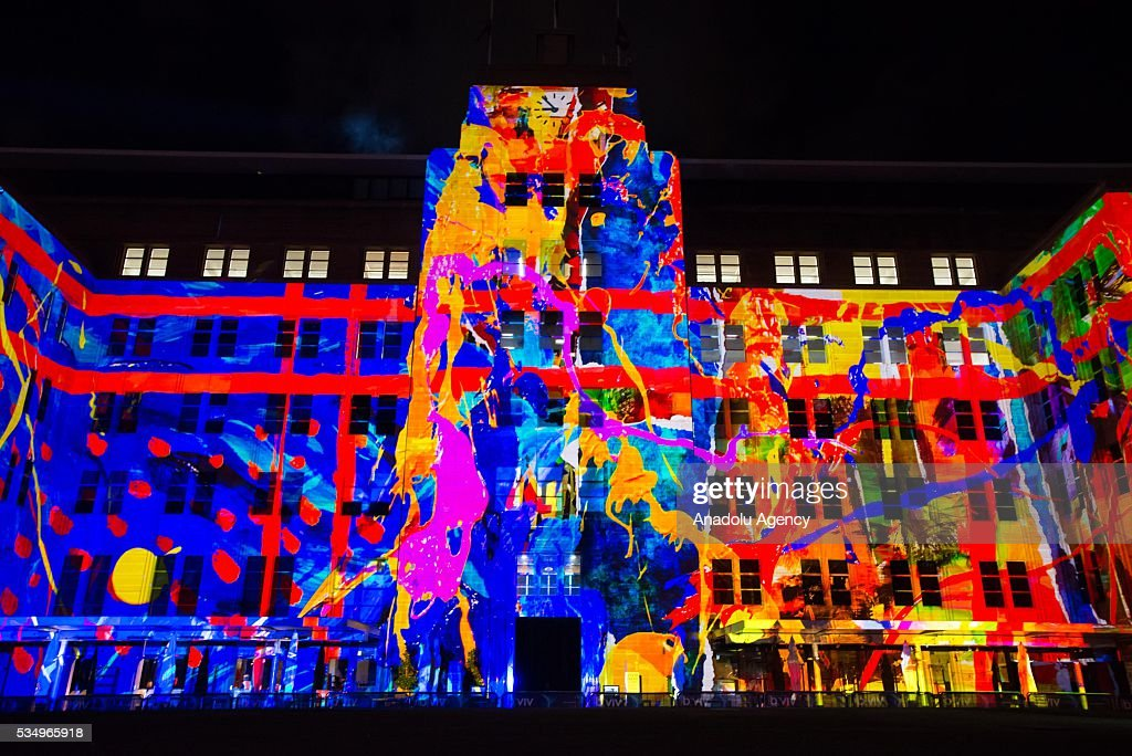 The Museum of Contemporary Art building is being illuminated with lights, displaying different colors and shape within the activities of 'Vivid Sydney' on May 28, 2016 in Sydney, Australia. Vivid Sydney, now in its eighth year, is Australia's major event in winter and is recognized as the largest event of its kind in the world combining light, music and ideas. Vivid Sydney is owned, managed and produced by Destination NSW, the NSW Governments tourism and major events agency. The festival takes place May 27 through June 18.