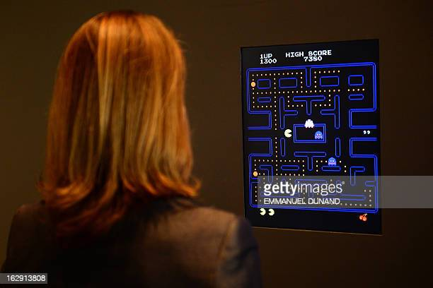 The Museum of Modern Art Senior Curator of Architecture and Design Paola Antonelli plays the video game PacMan during a preview of the MoMa's...