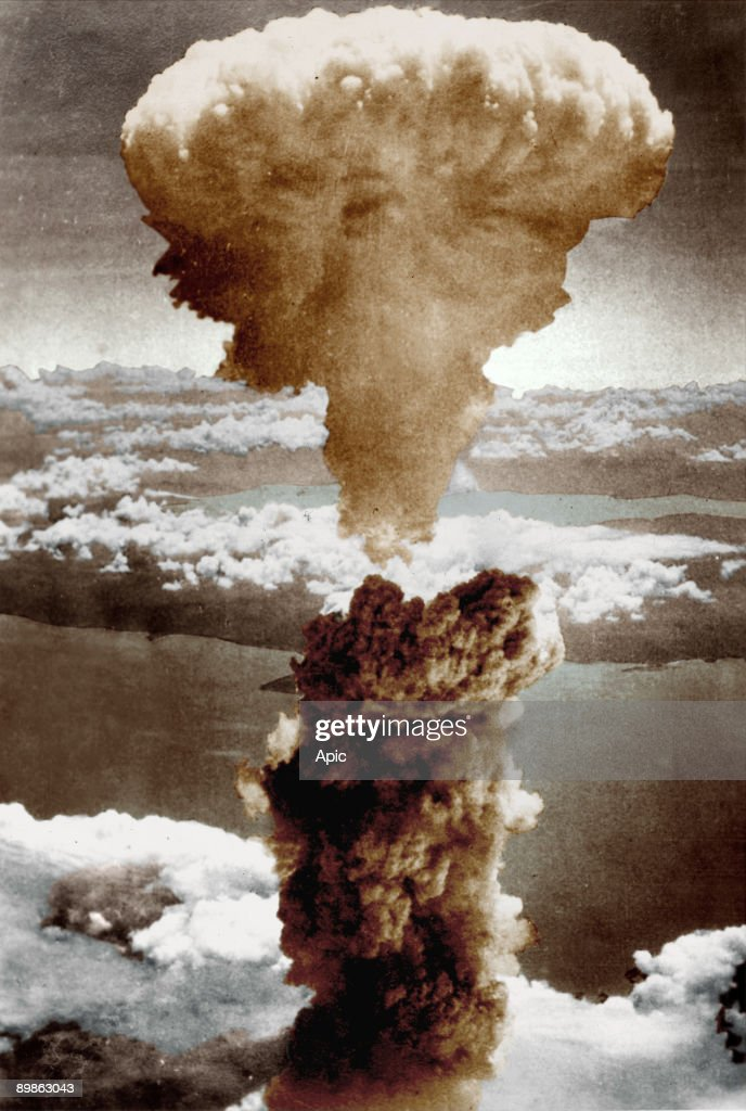 The mushroom cloud of the first atomic bomb over Nagasaki Japan 9 August 1945