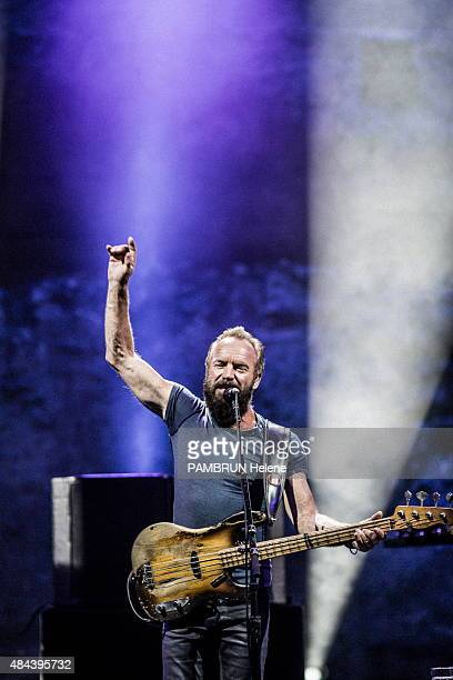 The music Festival in Carcassonne Sting on stage on July 26 2015