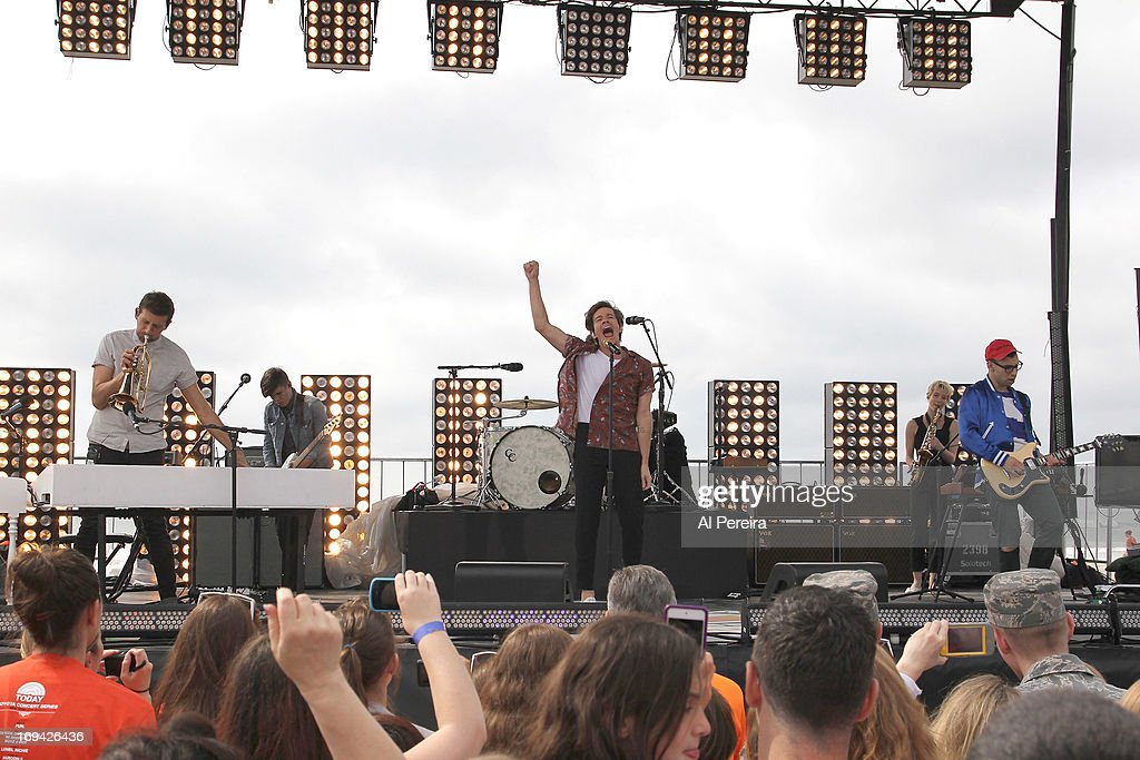 The music group fun. performs on NBC's 'Today'on the beach at the Seaside Heights Boardwalk on May 24, 2013 in Seaside Heights, New Jersey.