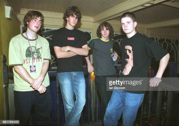 The Music group portrait backstage at Concorde 2 Brighton 24 Sep 2002