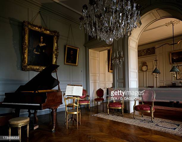 The music room and billiards room Castle of Digoine near Palinges Burgundy France