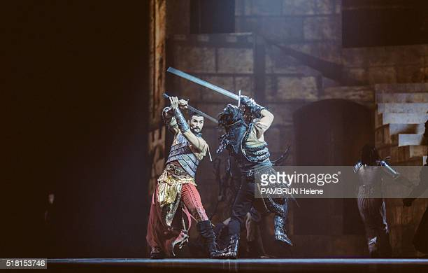 the musical La Legende du Roi Arthur at the Zenith de Dijon the troupe in backstage and on stage on February 27 2016 Florent Mothe on stage