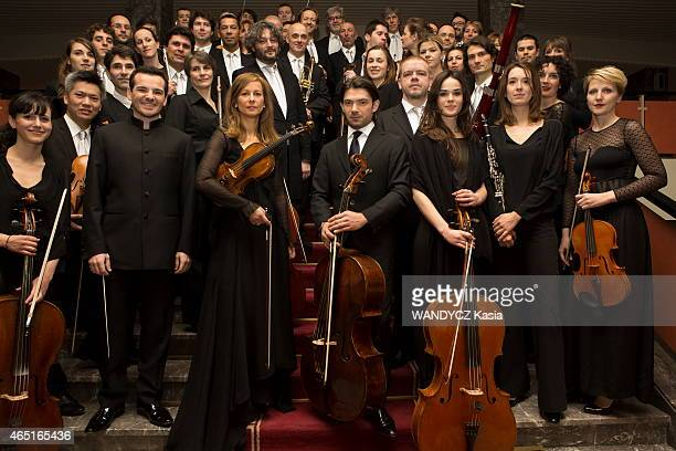 the musicians of the Alma Chamber Orchestra with Anne Gravoin the violonist and director artistic of orchestra Lionel Bringuier chief of orchestra...